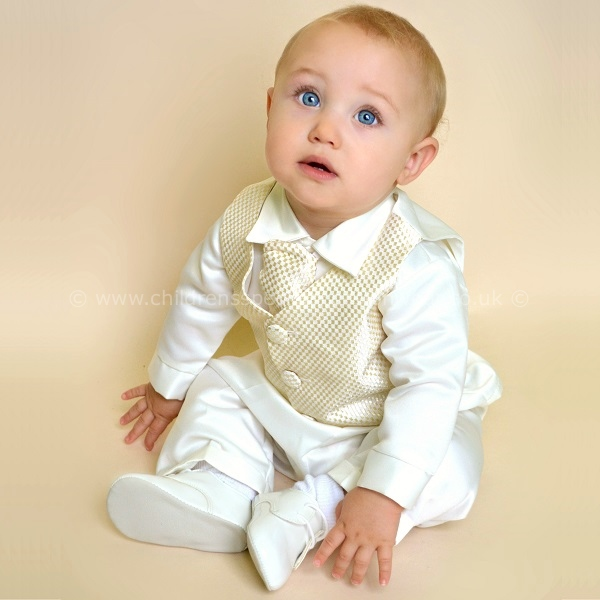 93b783be6d29 Baby Boys Ivory Gold Check 4 Piece Satin Suit Christening Baptism Wedding -  childrensspecialoccasionwear.co.uk
